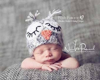 Crochet PATTERNS - Crochet Hat Pattern - Crochet Owl Hat Pattern - Crochet Patterns for boys - Baby, Toddler, Kids, Adult Sizes - PDF 109