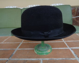 Vintage men's hat bowler fedora Large black hipster millinery Webster