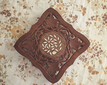 Vintage Carved Wood Trivet