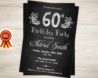 Surprise 60th birthday invitation. Chalkboard 60th Birthday Invite for Woman. Surprise birthday party invitation. Printable birthday invite