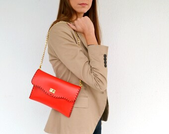 Red leather purse / Leather clutch / Handmade leather bag with gold metal chain