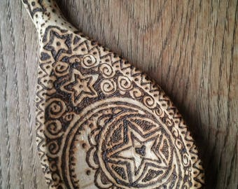 Pyrography Art Decorated Pagan Wiccan Wooden Spoon Moon & Star Motif