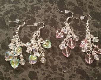 Glass Heart Dangle Earrings - Pick Your Color