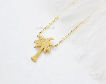 tiny Palm Tree Necklace in gold, Dainty palm tree Pendant Necklace, wedding gifts, bridesmaid gifts, birthday gifts, gift ideas