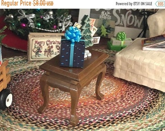SALE Miniature End Table, Walnut Wood Side Table #04, Dollhouse Miniature, 1:12 Scale, Dollhouse Furniture, Dollhouse Decor, Mini Table