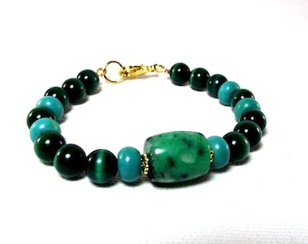 Teal Time Bracelet Featuring Teal Jasper and Turquoise - Teal Bracelet