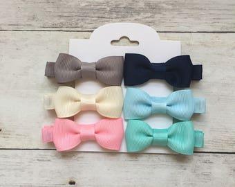 Set of 6 Baby Hair Bows, Baby Hair Clips, No-Slip Hair Clips, Toddler Barrettes, Toddler Hair Clips, Baby Barrettes, Baby Bows, Baby Bows