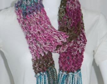 Crochet Scarf, in Pink/Green/Blue.