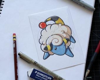 Pokemon Mareep 4x6 marker drawing