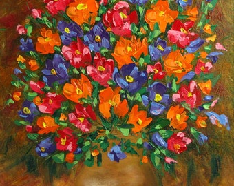 Bouquet of flowers. Drawing on the canvas oil paints.