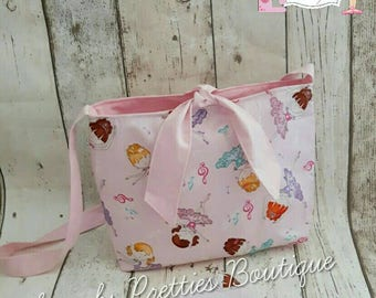 Pink childs girls princesd ballet tote bag/coin purse