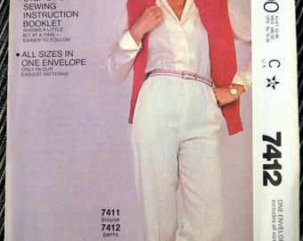 Vintage 80's Sewing Pattern McCall's 7412 Misses' Pants All Sizes Complete Uncut FF