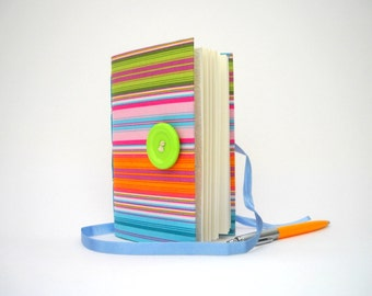 Colorful Stripes Journal Notebook Diary handmade journals blue pink green journal writing journal lined journal colorful journal for women