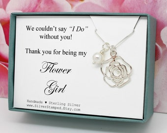 Gift for Flower girl Gift sterling silver necklace flower charm Swarovski crystal pearl in a gift box wedding party gifts thank you