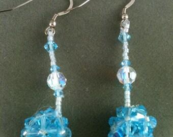 Three dimensional Swarovski crystal earrings in aquamarine