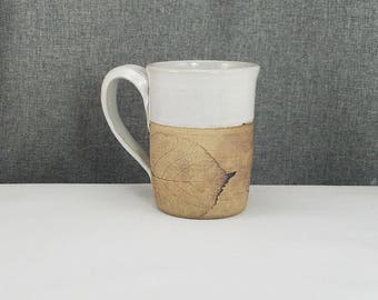 Made to Order(Up to 3 weeks)** Ceramic Mug, Pottery Coffee Mugs, Handmade Mug, Stoneware Tea Mug - White - Leafs