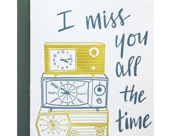 Letterpress I Miss You card, pun punny love sorry break-up, mid century clocks, 60s 70s, cute sweet, hand lettering, green chartreuse, LOD01