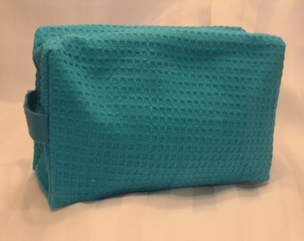 cosmetic bag, bridal emergency kit, toiletry bag, makeup bag,Monogrammed waffle weave bag