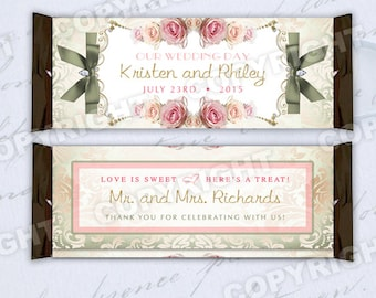 10 Royal French Rose Couture Pink, Sage Damask Wedding Large Hershey Candy Bar Wrappers