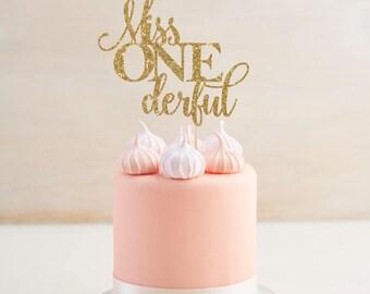Miss One-derful Cake Topper - First Birthday Decor - Smash Cake Topper - Smash Cake Party Prop - Girl's First Birthday - I Am One Decor