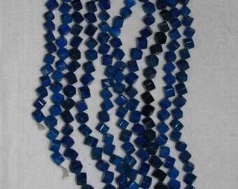 Lapis, Lapiz, Lapis Cube Bead, Cube Bead, Blue Bead, Natural Stone, Semi Precious, Full Strand, Aplus, 6 mm