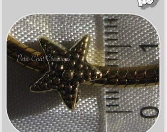 1 Pearl CHARM star DOUBLE sided 3D METAL DORE COMPATIBLE 10mm antique gold * W23