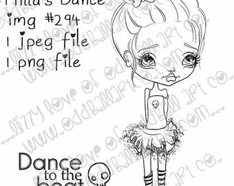 Instant Download Big Eye Tutu Girl Digital Stamp Coloring Page ~ Milla's Dance Image No. 294 by Lizzy Love