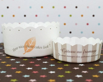Baking Cups - Simple Design Large Cups and Beige Stripes Mini Cups