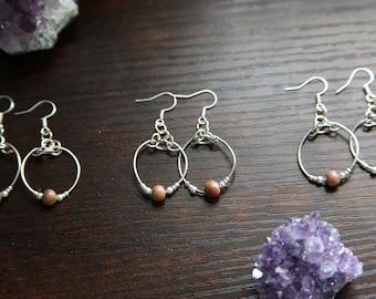 Silver Rustic Ceramic Bead Hoop Dangle Handmade Bohemian Lightweight Earrings *Perfect as Gift!*