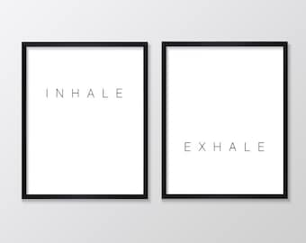 Inhale Exhale Print, Set of Two Printables, Yoga Print, Minimalist Printable, Scandinavian Print, Modern Minimalist,  Black and White