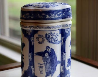 Blue and White Lidded Ceramic Container
