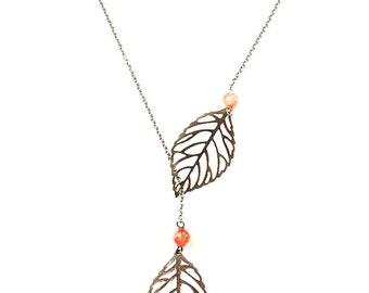Vintage Bronze Leaf Necklace