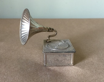 Miniature Silver Metal Victrola Record Player