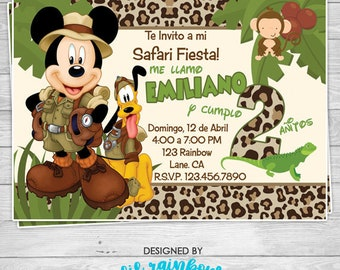 659-02: DIY - Mickey Mouse Jungle Safari Party Invitation Or Thank You Card