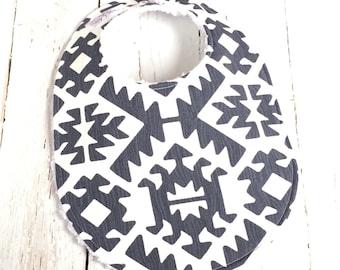 Aztec Baby Bib for Baby Boy  - Single Bib - Tribal Baby Bib in Gray, White, Woodgrain - Triple Layer Chenille - GRAPHITE GRAY AZTEC