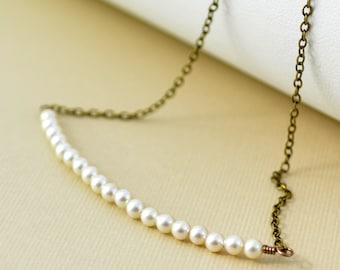 Ivory Pearl Necklace, Row of Tiny Genuine Swarovski Pearls, Antiqued Brass Jewelry