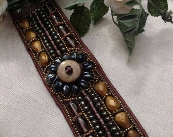 Strappy Beaded Bracelet, Chocolate and Tan, Seed Beads, Copper Color, Beaded Accent, Bohemian Style, Vintage