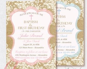 Baptism invitation. Burlap invite. Burlap and lace invitation. Printable Baptismal invitation. Christening. Shabby Chic Baptism invitation