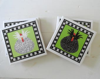 Black and White Hens Ceramic Drink Coasters-Set of 4