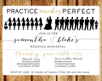 Silhouette Rehearsal Dinner Invitation; Printable Wedding Rehearsal Invitation; Digital Invitation