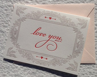 Love You, Mean it. - Letterpress Valentine