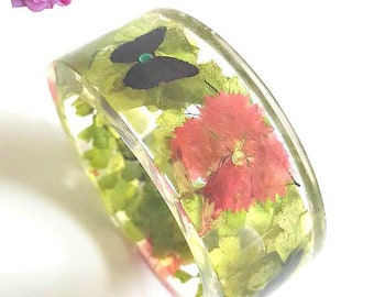 Butterfly Bangle Bracelet/ Real Flowers Imbedded In Resin/ Flower Resin Bangle/ Floral Jewelry/ Made In The USA/ Size Medium/ Gift For Her