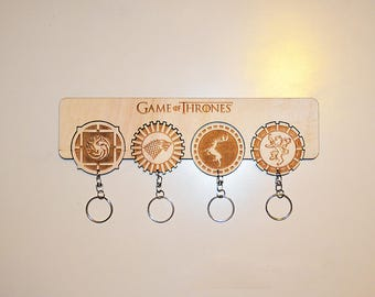 game of thrones Keychain ready to hang wooden