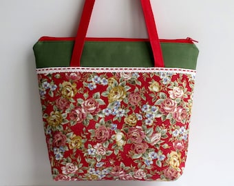 Women's Handbag, Shoulder Bag, Zip Closure with Two Internal Pockets, Ladies Handbags, Red Handbags, Floral Handbags, Floral Shoulder Bags
