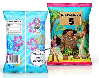 Digital Moana Custom Chip Bags, Moana Bags, Custom Party Favors, Moana Treat Bags, Printable Party Favors, Custom Goody Bags, Moana favors
