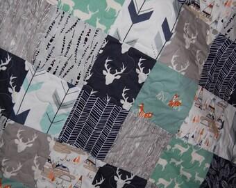 baby quilt, baby boy quilt, baby boy bedding, navy crib bedding- woodland baby quilt, mint baby quilt, navy baby quilt, elk baby quilt