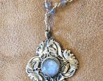 Beautiful Art Nouveau Antique Reproduction Lotus Flower Pendant Necklace-Labradorite-Cabachon-Sterling and labradorite wire wrap chain