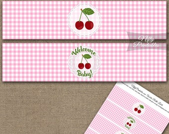 Cherries Baby Shower Water Bottle Labels - Cherry Baby Shower Bottle Wraps - Girls Pink Red White Lace Country Rustic Decorations CHPG