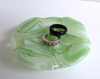 Fused Glass Ring Dish in Pale Green by BPRDesigns