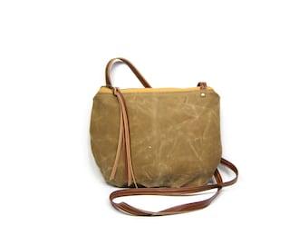 date purse  • waxed canvas crossbody bag • light brown waxed canvas canvas - gifts under 50 - simple cross body bag - boho